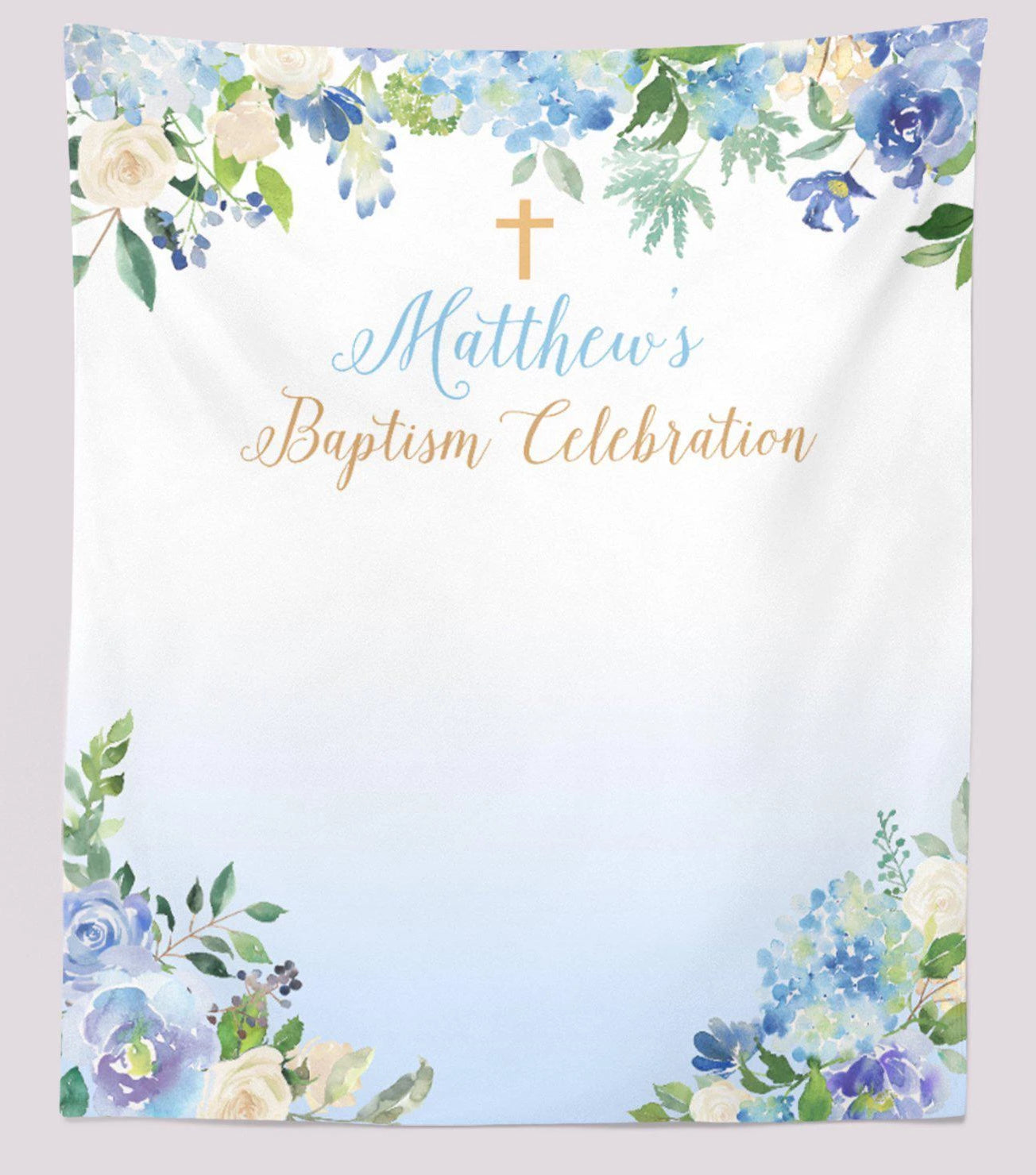 Blue Baptism Backdrop Baptism Decoration Ideas For Baby Boy