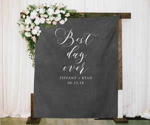 Best Day Ever Chalkboard Wedding Reception Backdrop - Blushing Drops