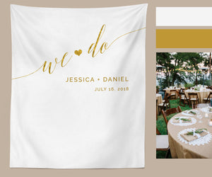 Gold We Do Wedding Backdrop Ideas for Ceremony Wedding Background - Blushing Drops