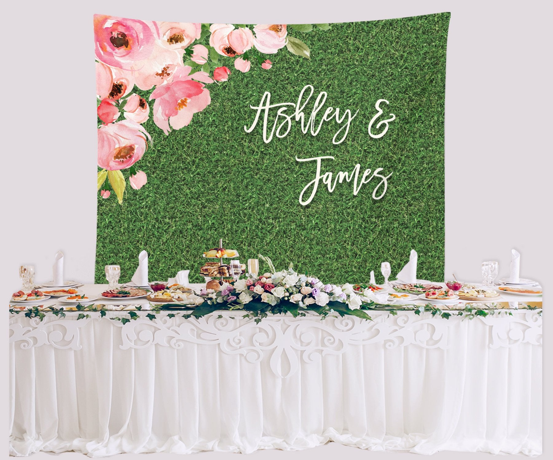Rustic Wedding Backdrop Floral Wedding Grass Backdrop Personalized