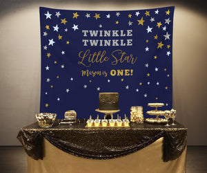 Twinkle Twinkle Little Star Navy Baby Shower Backdrop - Blushing Drops