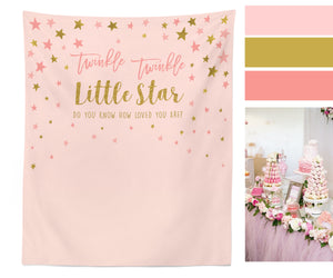 Twinkle Twinkle Little Star Backdrop, Twinkle Baby Shower Backdrop, Pink and Gold Baby Shower Decor, Star Banner, Twinkle Baby Shower Banner - Blushing Drops