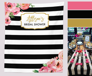 Floral Bridal Shower Backdrop| Spade Theme Bridal Shower Photo Booth Backdrop - Blushing Drops