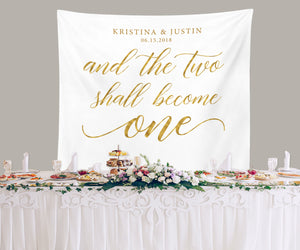 Gold Wedding Backdrop | Two Shell Become One Backdrop Banner - Blushing Drops