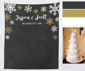 Snowflake Wedding Photo Booth Backdrop, Personalized Winter Wedding Reception Backdrop, Holiday Decorations, Chalkboard Fabric Backdrop - Blushing Drops