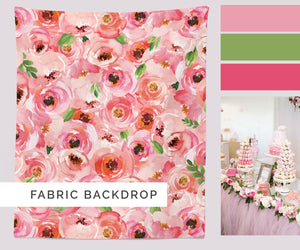Floral Photo Booth Backdrop | Pink Flowers Background Banner - Blushing Drops