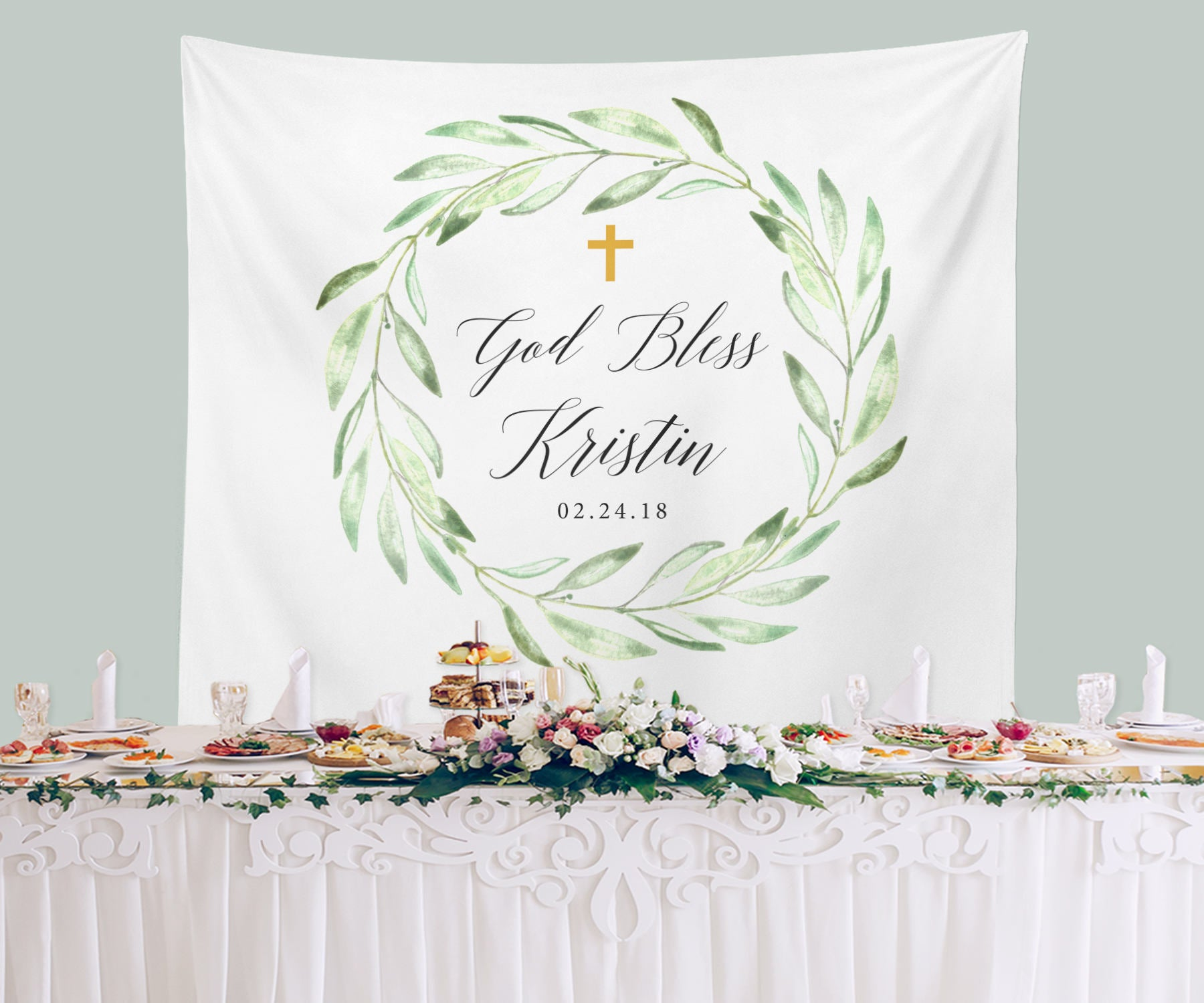 God Bless Peach Floral Baptism Banner Personalized Party Backdrop Decoration