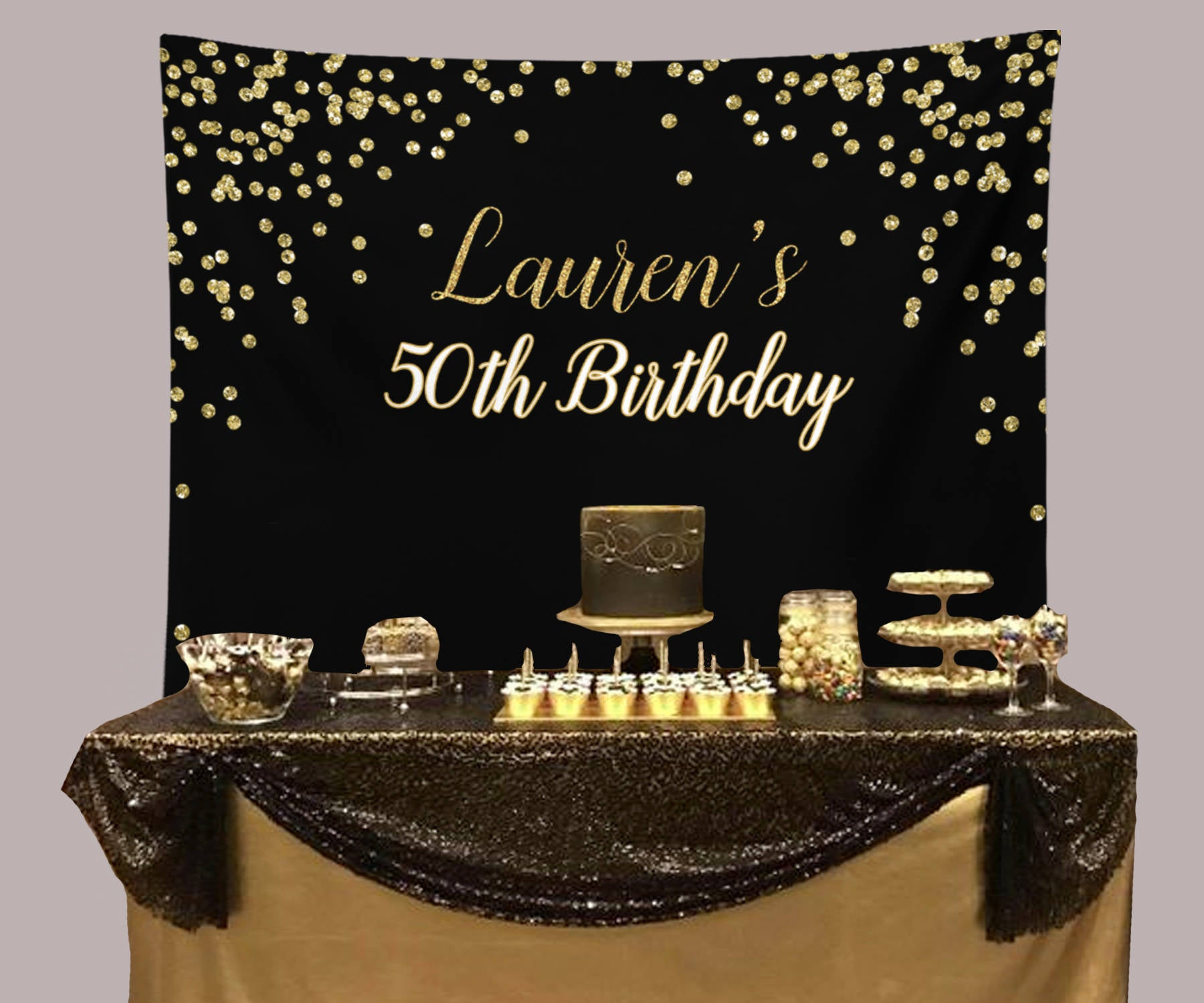 Black And Gold Birthday Party Backdrop, 50th Birthday