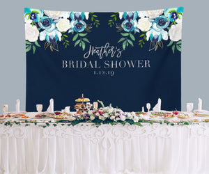 navy blue bridal shower backdrop navy and silver wedding decor blushing drops