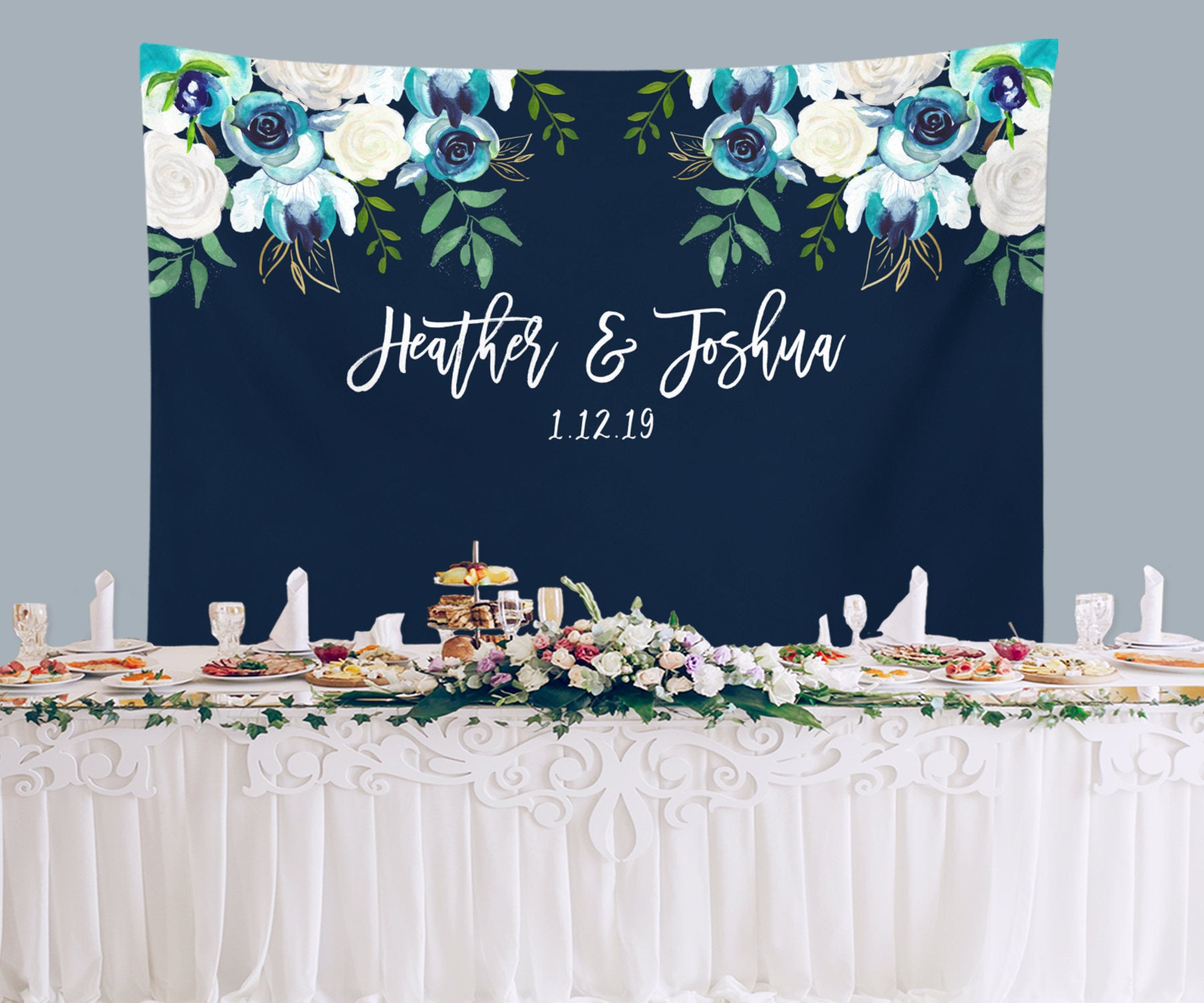 White And Blue Wedding Ideas: Navy Blue Wedding Photo Backdrop For Sale