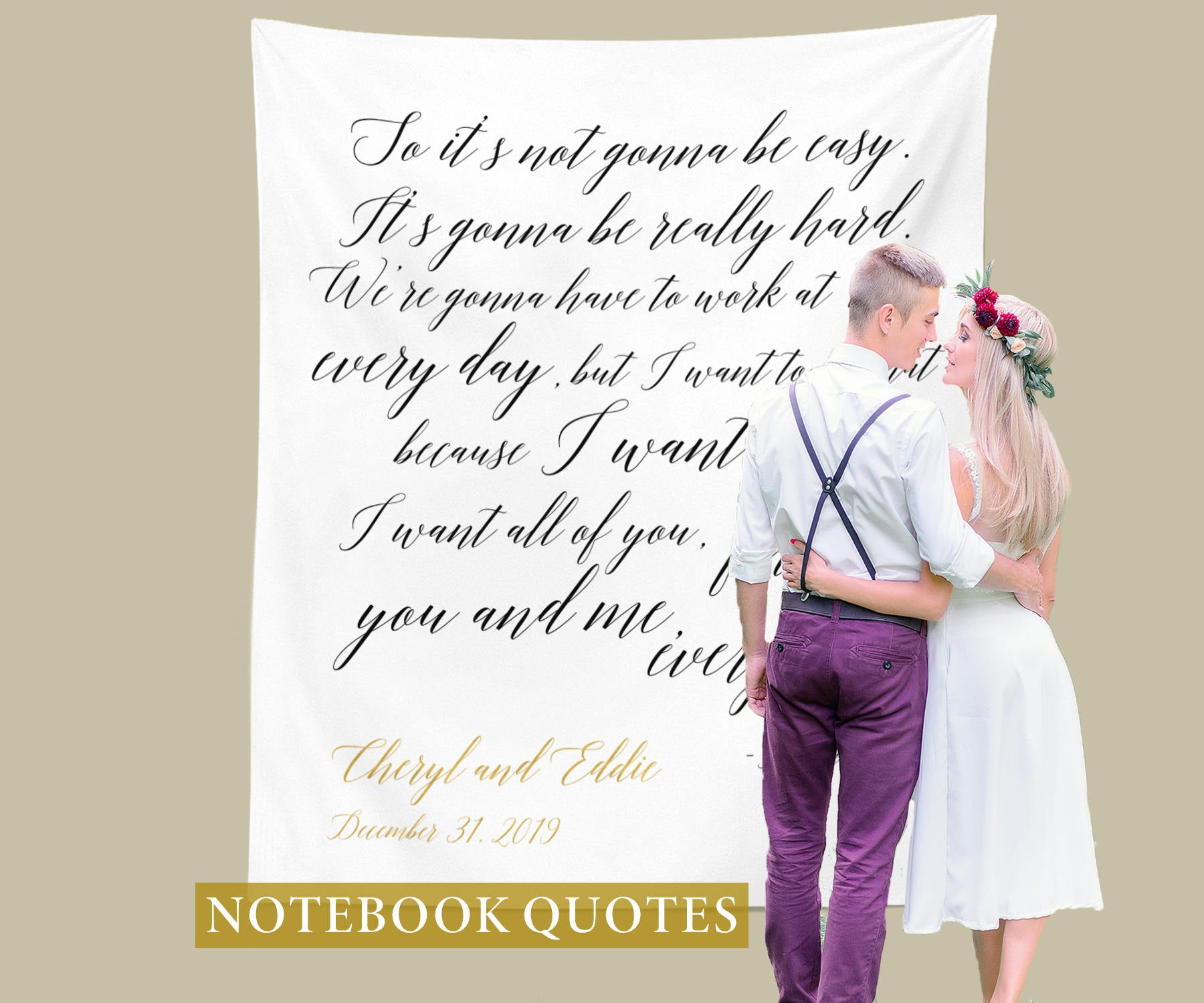 The Notebook Quote Backdrop Rustic Wedding Decoration Ideas
