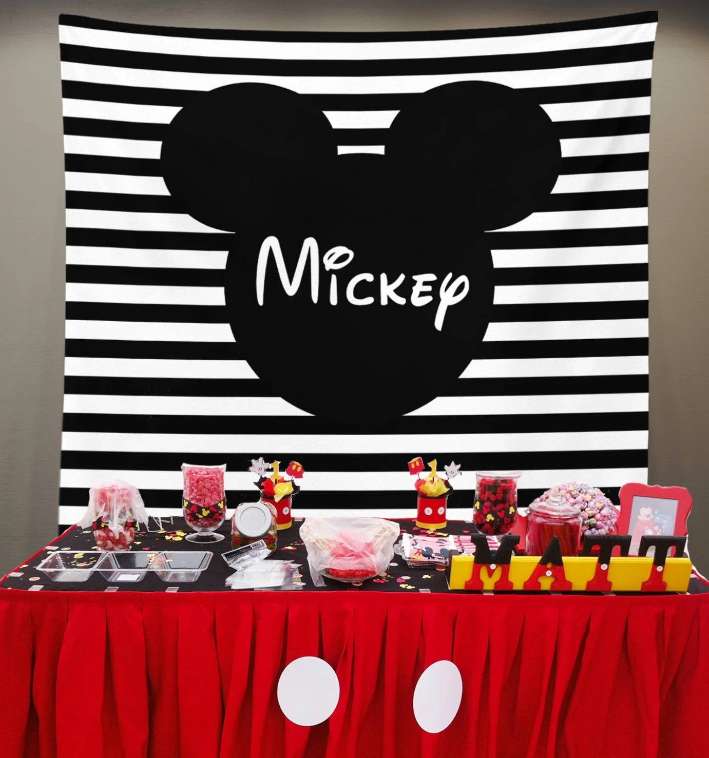 Mickey Backdrop Mouse Birthday Party Photo Dessert Table Decorations Candy