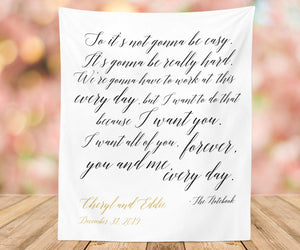 The Notebook Quote Backdrop, Rustic Wedding Decoration, | So It's Not Going To Be Easy - Blushing Drops