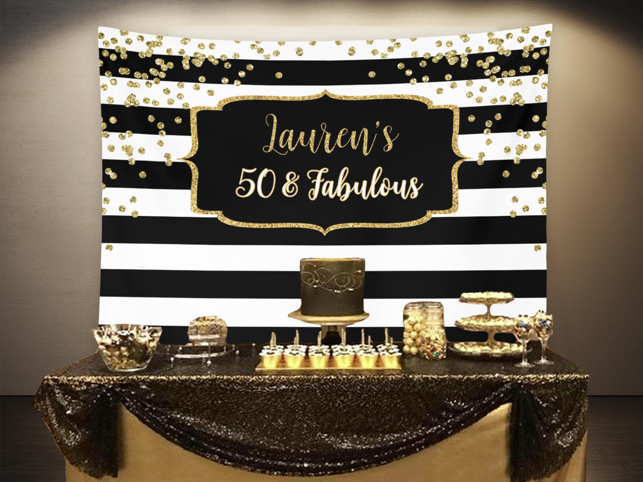 Fifty And Fabulous Birthday Party Backdrop Black And Gold Birthday Party Decor