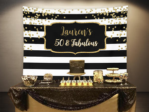Fifty and Fabulous Birthday Party Backdrop | Black and Gold Birthday Party Decor - Blushing Drops