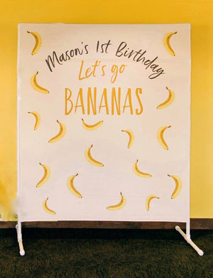Let's Go Bananas Birthday Party Backdrop | Kids Birthday Party Backdrop - Blushing Drops