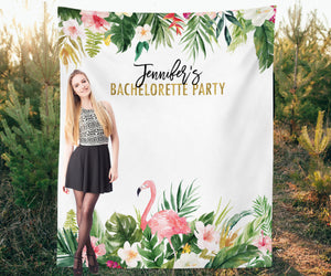 Custom Tropical Bachelorette Party Backdrop | Luau Party Backdrop - Blushing Drops