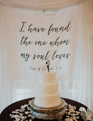 I Have Found The One Whom My Soul Loves | Wedding Ceremony Backdrop - Blushing Drops