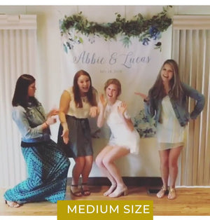 Hydrangea Bridal Shower Photo Booth Backdrop | Blue Bridal Shower - Blushing Drops