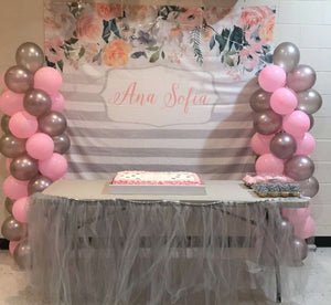 Pink and Gray Baby Shower Backdrop, Floral Fabric Banner, Baby Shower Backdrop, Baby Shower Decorations, Cake Table Decor, Custom Backdrop - Blushing Drops