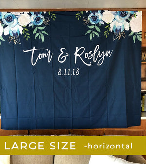 Navy Blue Winter Wedding Backdrop | Wedding Decorations - Blushing Drops