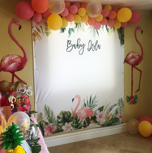 tropical baby shower decoration backdrop with balloons