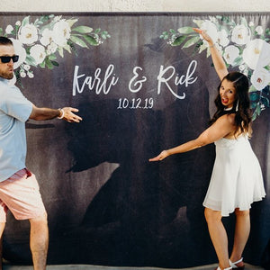 White Floral Wedding Photo Booth Backdrop | Chalkboard Wedding - Blushing Drops