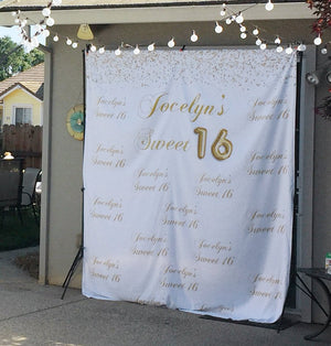 Gold Sweet 16 Decoration Backdrop | 16th Birthday Party Ideas - Blushing Drops