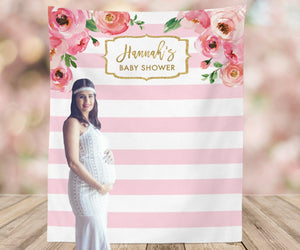 Floral Baby Shower Backdrop | Pink Baby Shower Decorations - Blushing Drops