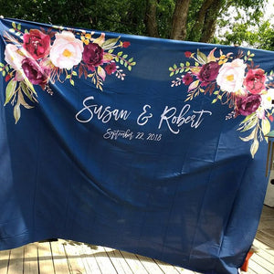 Navy and Gold Wedding Backdrop Ideas | Boho Wedding Decorations - Blushing Drops