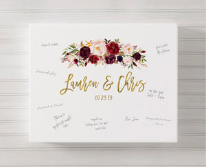 Marsala Wedding Canvas Guest Book | Boho Guestbook Ideas - Blushing Drops