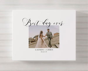 Photo Wedding Guest Book Canvas | Best Day Ever Guestbook Alternative - Blushing Drops