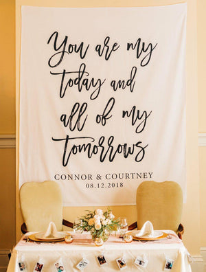 Custom Fabric Backdrop Personalized Wedding Reception Backdrop - Blushing Drops