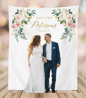 Floral Wedding Backdrop for Photo | Wedding Photo Booth Backdrop | Meet the Mr. & Mrs. - Blushing Drops