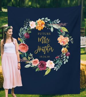 Future Mrs Backdrop Decorations | Floral Bridal Shower Ideas - Blushing Drops
