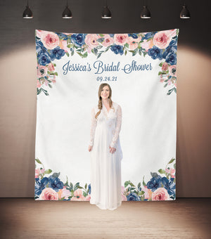 the bride to be standing navy floral bridal shower photo booth backdrop