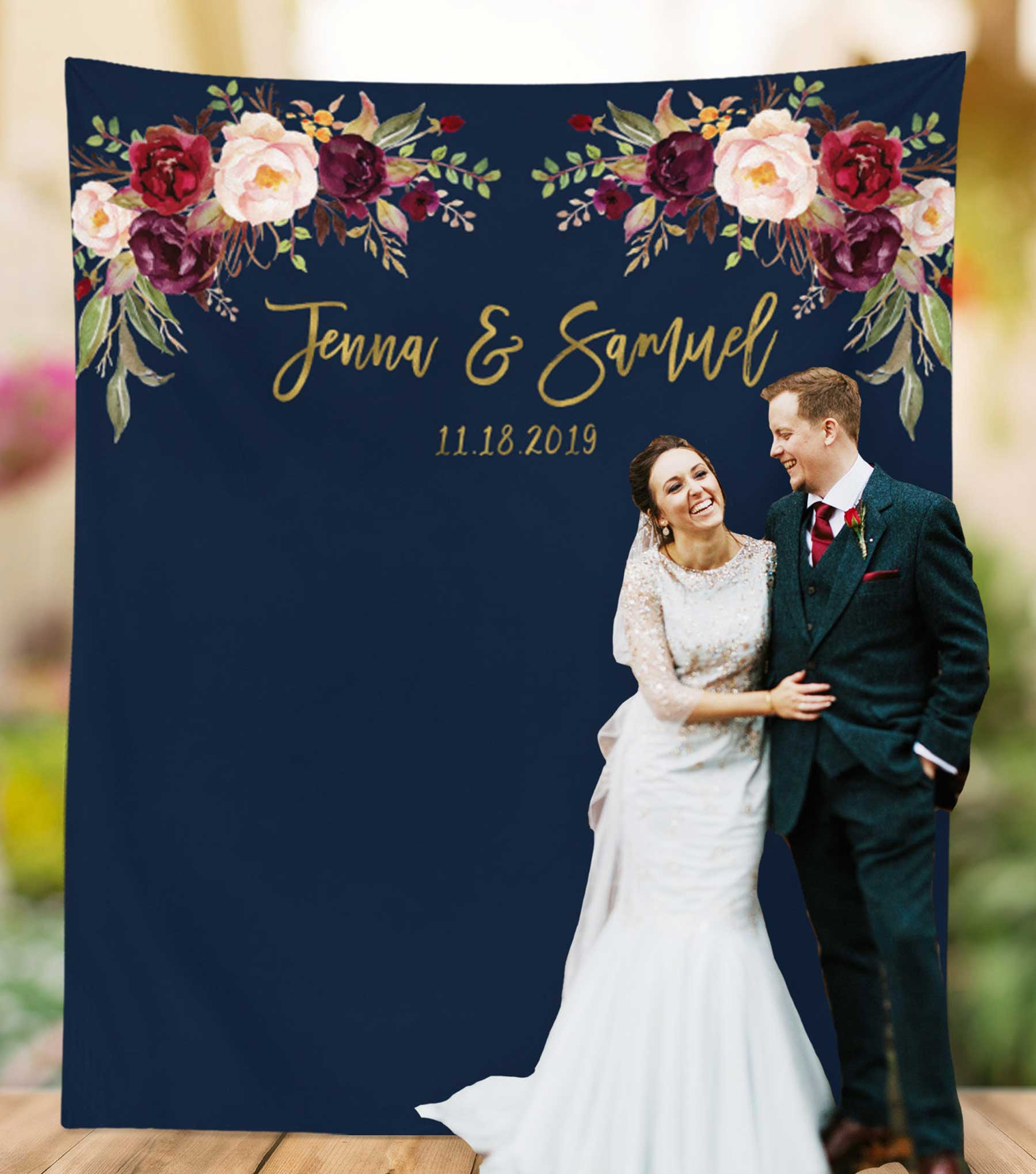 Navy and Gold Wedding Backdrop Design for Sale   Blushing Drops