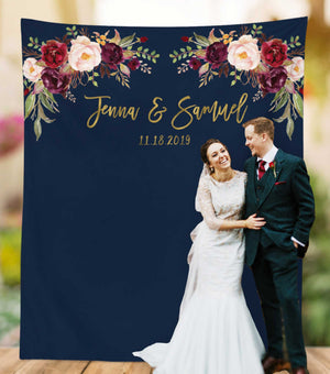 navy and gold wedding backdrop design, outdoor wedding photo booth backdrop