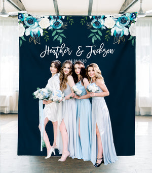 Navy Blue Wedding Photo Backdrop at wedding reception, Dusty blue bridesmaids at photo booth backdrop