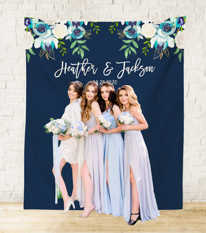 navy blue wedding decoration backdrop, navy blue photo booth backdrop design