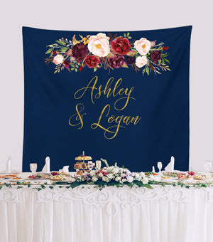Marsala Navy Wedding Reception Backdrop Photo Background - Blushing Drops