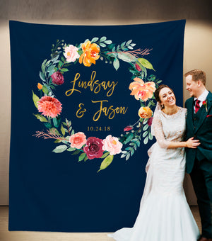 Boho Wedding Photo Booth Backdrop | Navy Floral Wedding Ideas - Blushing Drops