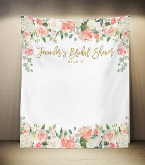 Floral Bridal Shower Backdrop | Spring Bridal Shower Banner - Blushing Drops