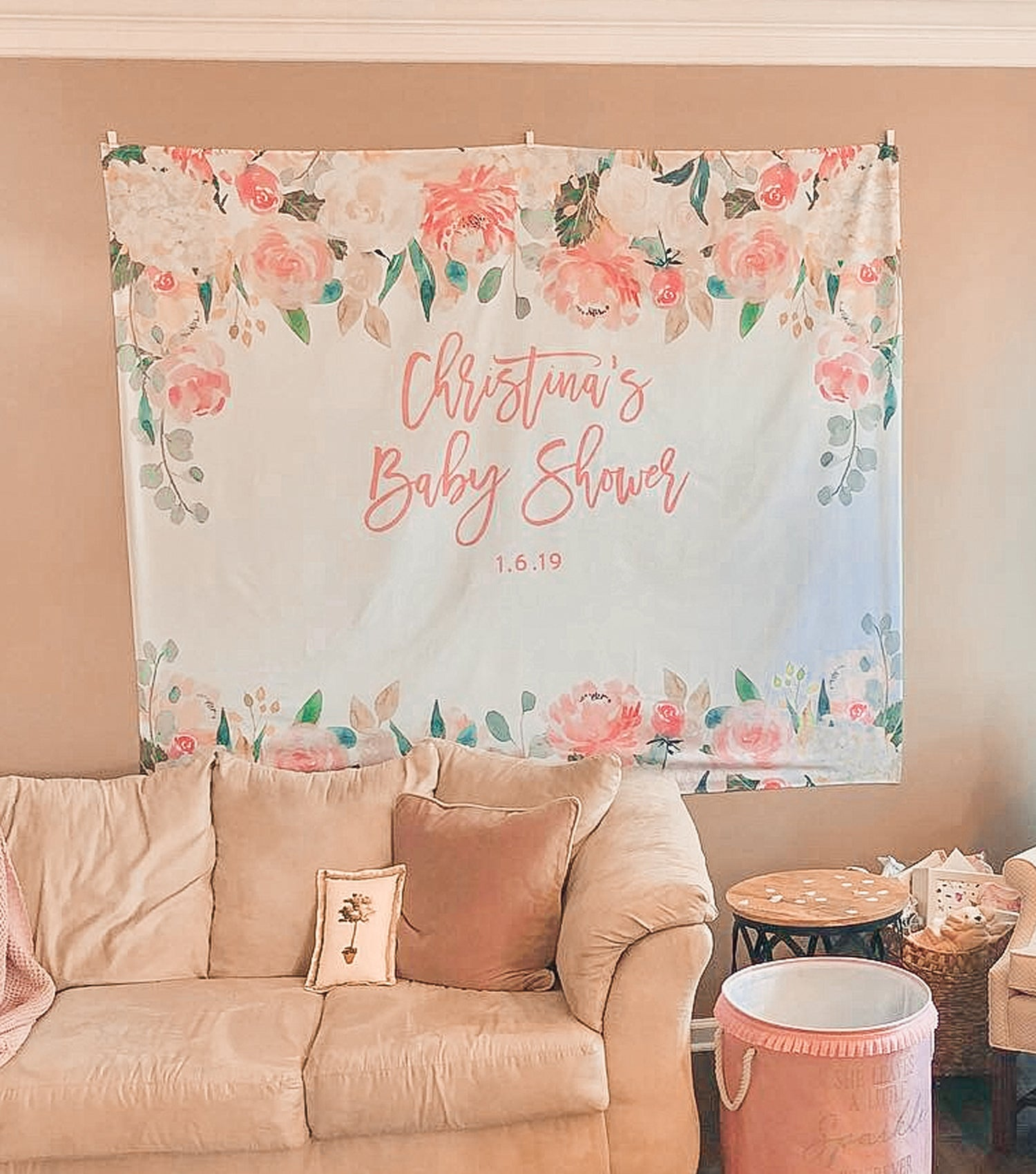 Peach Floral Baby Shower Backdrop Baby Shower Decorations Girl