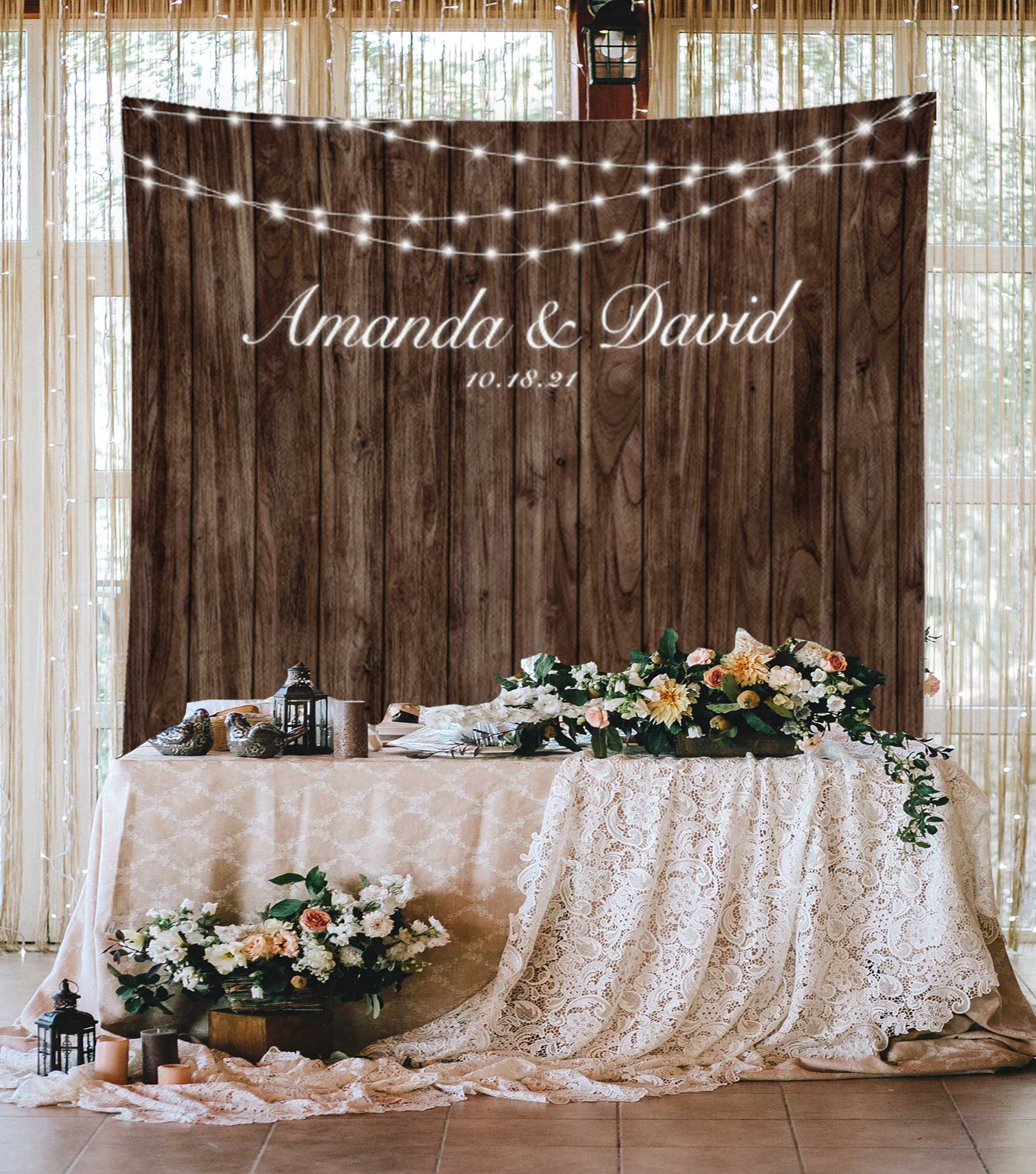 Rustic Wedding Backdrop with String Lights | Blushing Drops