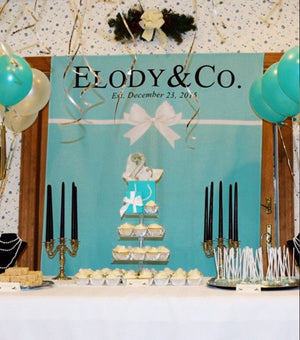tiffany themed birthday party backdrop, tiffany party decorations