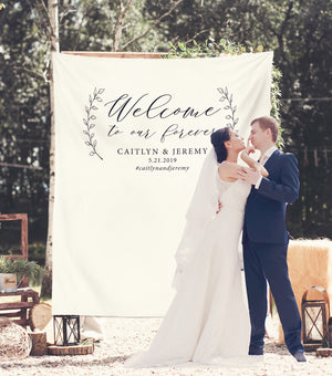Welcome To Our Forever Wedding Welcome Banner | Fabric Backdrop - Blushing Drops