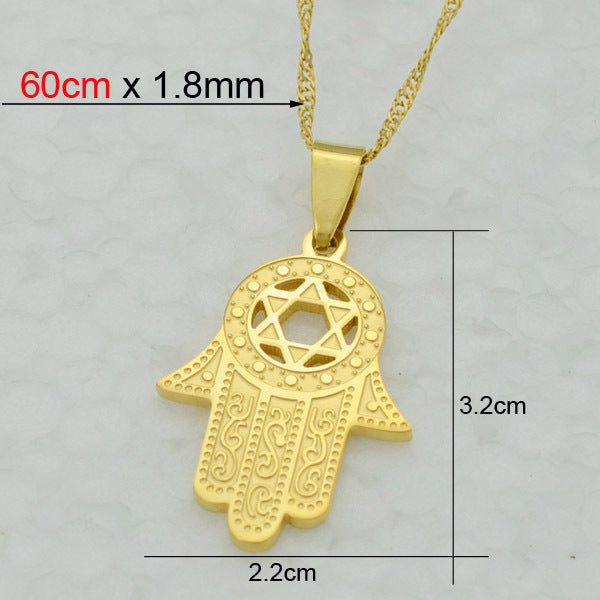 hamsa steel and stainless feshionn necklace earring stud set products large iobi collections sets hand