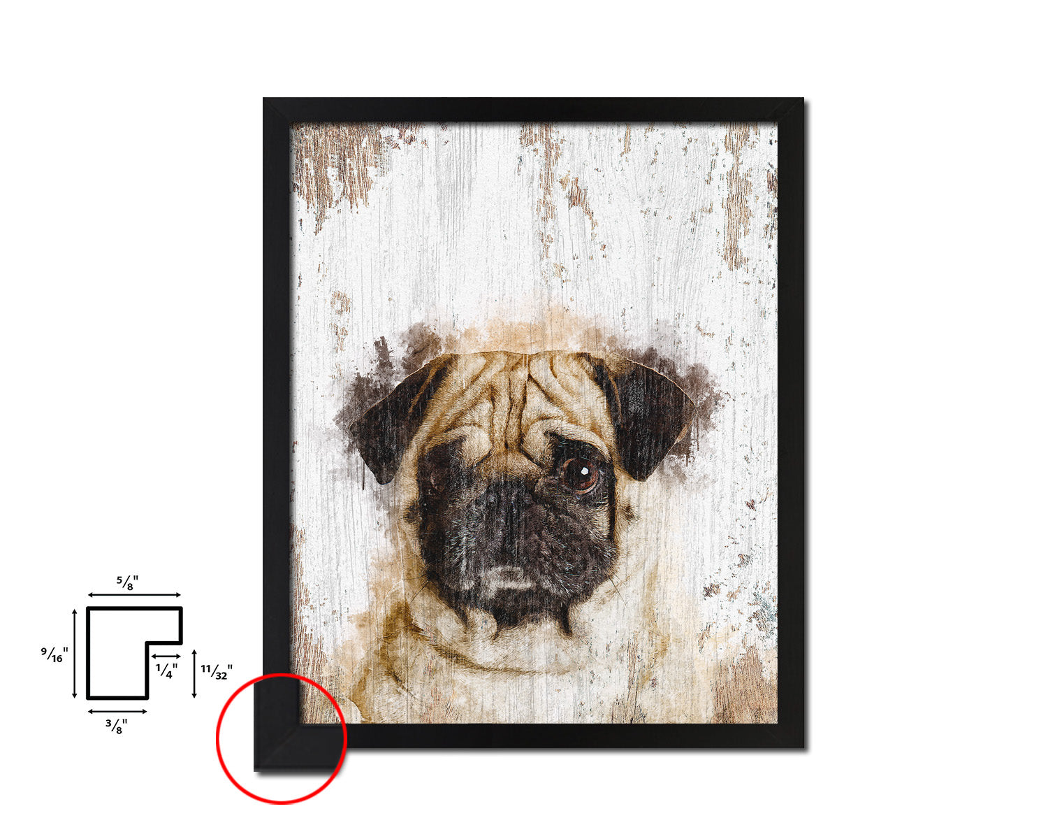 Pug Dog Puppy Portrait Framed Print Pet Home Decor Custom Watercolor Wall Art Gifts