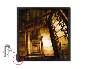 Rustic Wooden Vintage Spiral Staircase Black Framed Print Interior Wall Decor Art Gifts